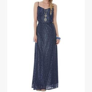 Lilly Pulitzer Deanna Maxi Dress Bamboo Geo Lace